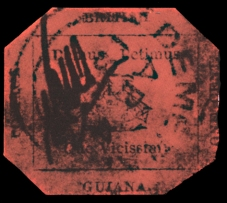 "Fig. 4: The 1856 one-cent ""Black on Magenta"" stamp of British Guiana"