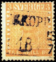 "Fig. 5: The unique ""Tre Skilling"" Yellow stamp of Sweden, οφ 1855"