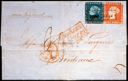 Pic. 2: The famous Bordeaux Cover with Mauritius stamps