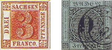 Fig. 7 &8: A 3 pfennig        Saxony stamp & the Baden stamp of wrong color