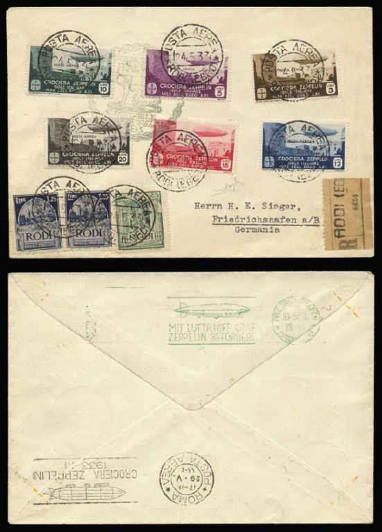 Registered letter from Rhode to Germany with the full set and all the related postmarks (blue-grey commemorative cancellation) This is the only cover that bears, at the back, an identical arrival date stamp to the Italian one but it is written in German. Covers with the full set are very few indeed