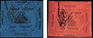 Fig. 5: The two provisional stamps of 4 cents, one in magenta and one in blue, printed at the same time with the rare one-cent stamp