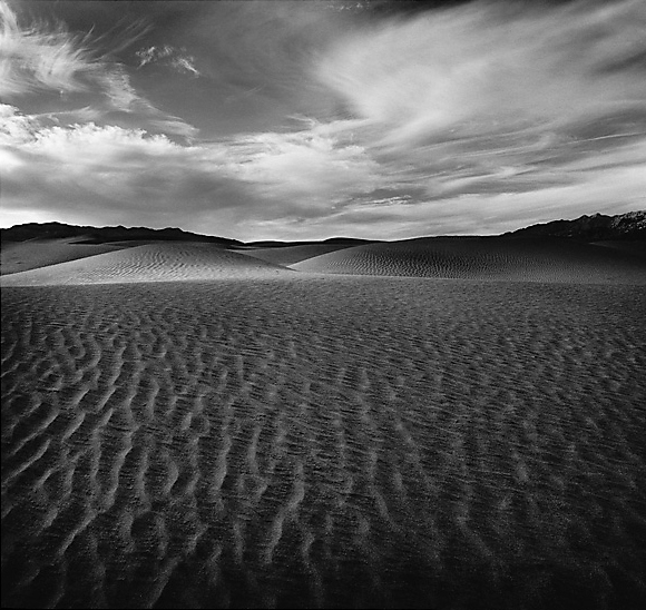 Sand Enigma c2012 selenium toned silver gelatin print. Mesquite Flat Dunes at Stovepipe Wells, Death Valley, CA